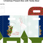 Template Christmas gift box with Teddy Bear. — Stock Vector