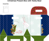 Template Christmas gift box with Teddy Bear. — Stock Vector