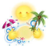 Cute sun holding summer in his hands — Stock Vector