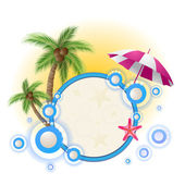 Summer background with palm trees and umbrella — Stock Vector