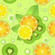 Background with lemon,kiwi fruits and orange — Grafika wektorowa
