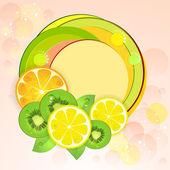 レモン、キウイ フルーツ、オレンジの背景 — ストックベクタ