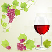 Glass of red wine and grapes — Stock Vector