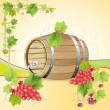 Wine barrel with red grapes — Stock Vector