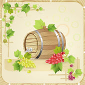 Wine barrel with grapes — Stock Vector