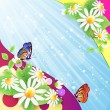 Summer background with flowers and butterflies — Stock Vector