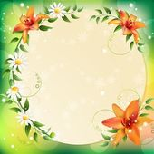 Summer background with beautiful flowers — Stock Vector