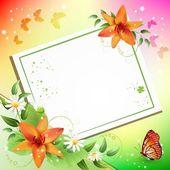Fondo de verano con hermosas flores — Vector de stock