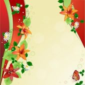 Background with lilies and butterfly — Vector de stock