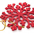 Stock Photo: Red snowflake decoration