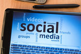 Social media on screen — Stock Photo