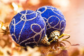 Blue Christmas balls — Photo