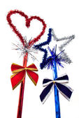 Christmas red heart and blue star — ストック写真