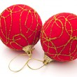 Stock Photo: Two red Christmas balls