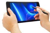 Using pen on touchscreen — Stock Photo