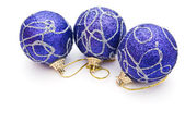 Three blue christmas balls — Stock Photo