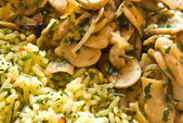 Mushrooms and rice — Stock Photo
