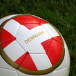 Football with danish flag on footballfield. Euro 2012 — Stock Photo