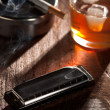 Harmonicwith Whiskey and Cigarette — Stock Photo #11578142