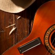Stock Photo: Harmonicon Guitar with Cowboy Hat