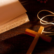 Stock Photo: Wooden Crucifix with Old Book