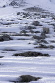Rocas de las montañas de nieve — Foto de Stock