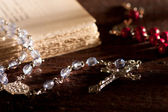 Silver Rosary with Old Book — Stock Photo