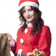 Royalty-Free Stock Photo: Santa Woman with Present