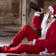 Alcoholic Santa — Stock Photo