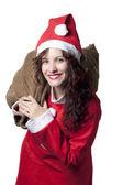 Santa Woman with Sack — Stock Photo