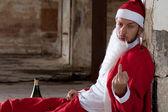 Santa Showing Middle Finger — Stock Photo