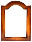 Antique gold wood picture frame with isolated white center — Stock Photo