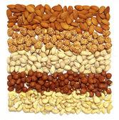 Set of nuts - cashews, almonds, walnuts, hazelnut, — Stock Photo