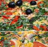 Collage of pizza food related pictures made from three images — Stock Photo