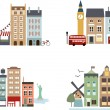 Stock Vector: Famous cities with simple buildings and landmarks
