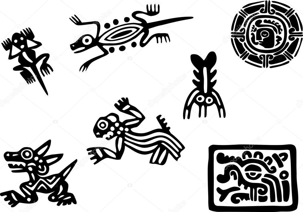 Mexican and maya glyph — Stock Vector © morrmota #11037345