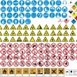 Various tables and signs prohibitions and dangers - Image vectorielle