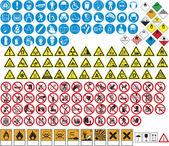 Olika tabeller och tecken förbud och faror — Stockvektor