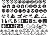 Various hazard symbols — Stock Vector
