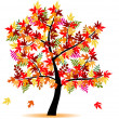 Four season tree with colorful leafs — Stock Vector