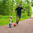 Little  cute  boy  playing with ball with  his father in summer park. — Foto de Stock