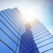 Stock Photo: Modern blue glass wall of skyscraper