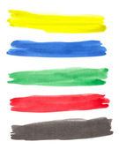 Set of color brush strokes — Stock Photo