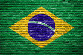 Brazil flag painted on old brick wall — Stock Photo