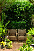 Couple chair in the garden — Stock Photo