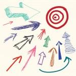 Hand drawing cartoon doodle arrow — Stock Vector