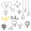 Set of Hand drawing light bulbs — Vector de stock
