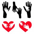 Set of caring hand and hand on red heart — Stock Vector