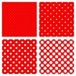 White polka dots pattern on red - Stock Vector
