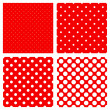 White polka dots pattern on red — Stock Vector